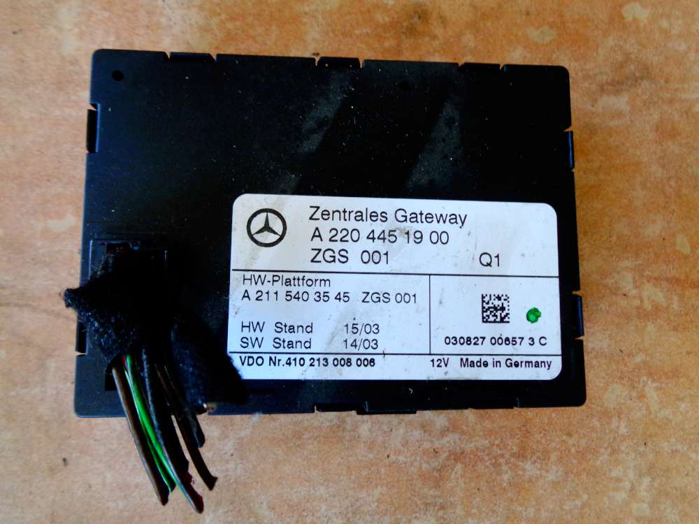 Mercedes Benz S-Klasse W220 Bj:03 Steuergerät Zentrales Gateway 2204451900