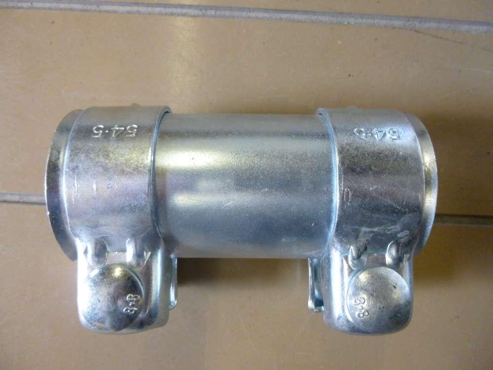 Auspuff Universal Rohrverbinder 50x 54,5x 125mm Doppelschelle Audi, VW, Skoda