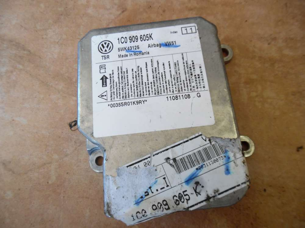 VW Fox 5Z Airbagsteuergerät Steuergerät 1C0909605K
