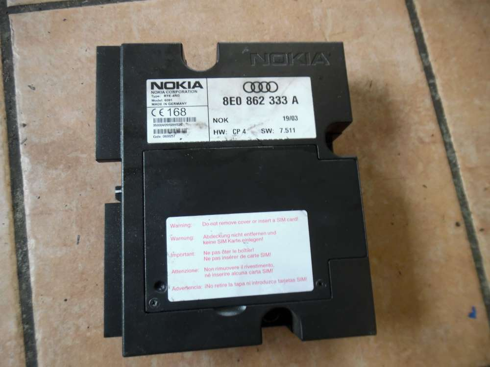Audi A6 4B Telefon Steuergerät Nokia 8E0862333A
